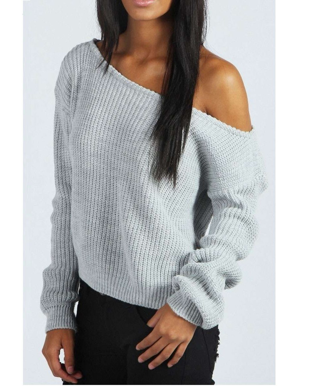 Kylie Grey Off Shoulder Knitted Jumper - JADOREYOU.COM 89b819994