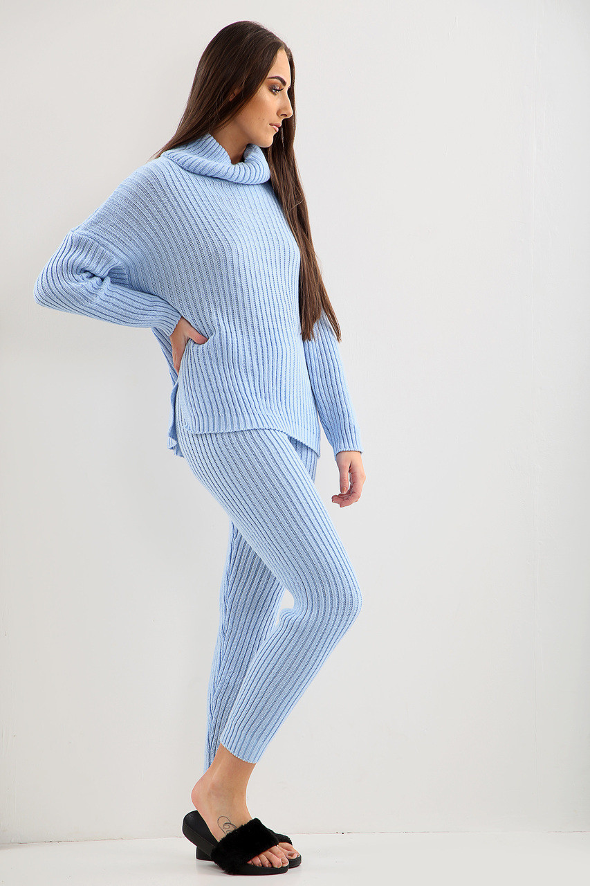 0953f2f2eea2 Dani Roll Neck Rib Knit 2 Piece Loungewear Set - Blue - JADOREYOU.COM