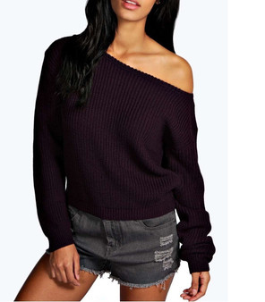 Kylie Purple Off Shoulder Knitted Jumper