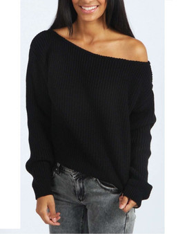 Kylie Black Off Shoulder Chunky Knitted Jumper