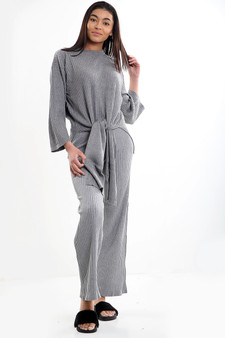 Mia Tie Front Culotte Lounge Set - Grey