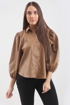 Amy Faux Leather Shirt - Brown