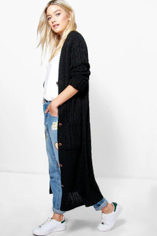 Emma chunky cable knit maxi boyfriend cardigan  - Black