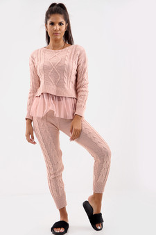 KIKI 2 Piece Knitted Co-ord Lounge Set - Pink
