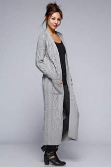 Emma chunky cable knit maxi boyfriend cardigan  - Grey