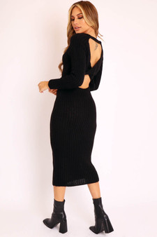 Anya Open Twist Back Knitted Maxi Dress  - Black
