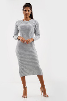 Anya Open Twist Back Knitted Maxi Dress  - Grey