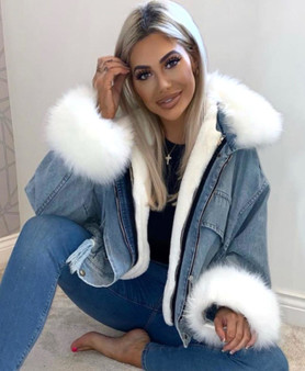 Alyssa White Faux Fur Oversized Denim Jacket