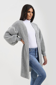 Slouchy Oversized Balloon Sleeve Boyfriend Cardigan - Grey