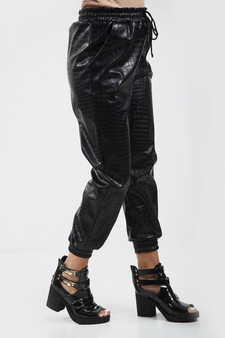 Black Faux Leather Textured Croc Print Jogger bottoms
