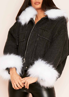 Alyssa Faux Fur Oversized Denim Jacket (Black-White)