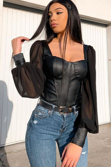 Black Faux Leather Corset Top With Puff Sleeves