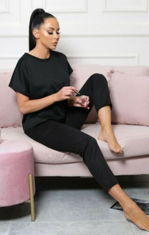 Bella Short Sleeve Crop Boxy Loungewear Coord Set - Black