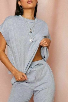 Bella Short Sleeve Crop Boxy Loungewear Coord Set - Grey
