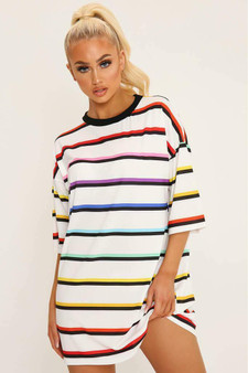 BACK IN STOCK! Nadia Oversized Stripe Tee - Rainbow