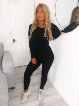 2 piece Loungewear Coord tracksuit set - Black