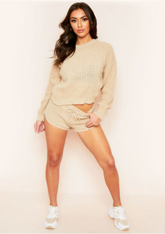 Kylie Stone Waffle Knit Crop Jumper And Short Co-ord Loungewear Set