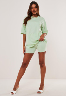 Oversized T shirt and cycling shorts outfit 2 piece set coord - Mint Green