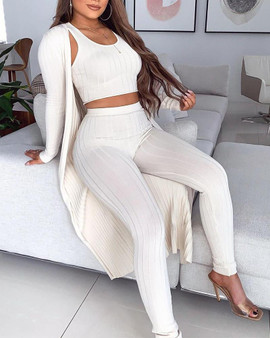 3 Piece outfit Rib Knitted Loungewear Set Tank Crop Maxi Cardigan coord - White