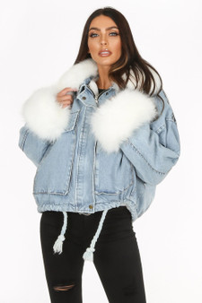 BACK IN! Alyssa White Faux Fur Oversized Denim Jacket