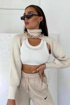 knitted high Turtle Neck long sleeve Arm Warmer