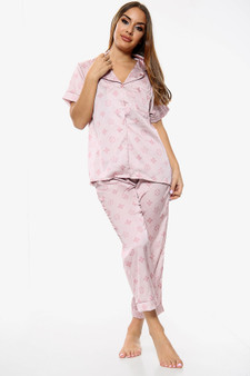 Two Piece Nightwear Satin Pyjama PJ Trousers Coord Set