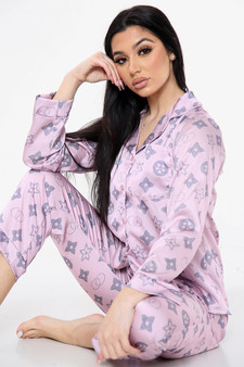 Two Piece Long sleeve Satin Pyjama PJ Trousers Coord Set