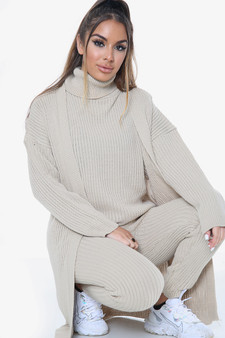 3 Piece outfit Rib Knitted Loungewear Set