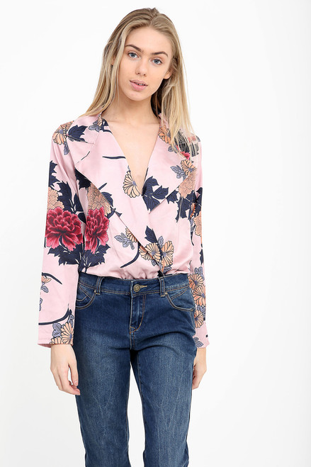 Magnolia Floral Body With Plunge Neck Pink
