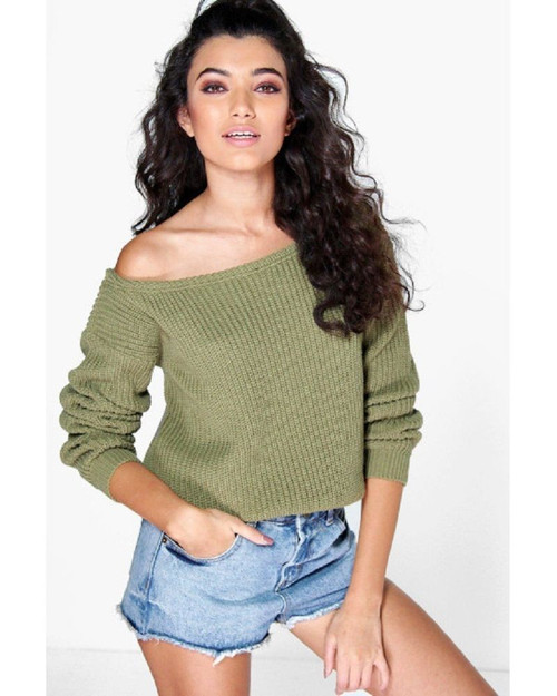 Kylie Khaki Off Shoulder Chunky Knitted Jumper