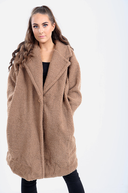 Brown Oversized Longline Teddy Bear Coat