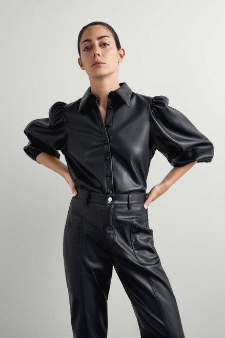 Amy Faux Leather Shirt - Black