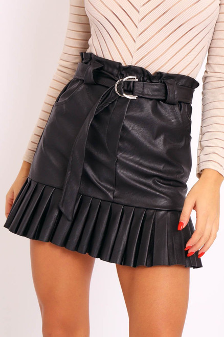 Faux Leather Belted Mini Skirt - Black