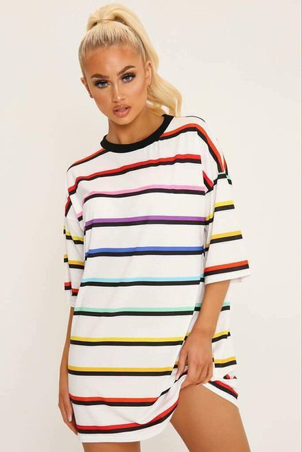 Nadia Oversized Stripe Tee - Rainbow