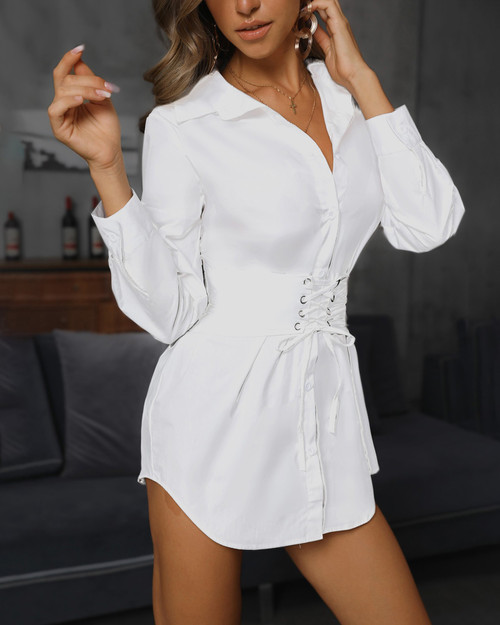 White Eyelet Lace Up Long Line Corset Shirt Dress