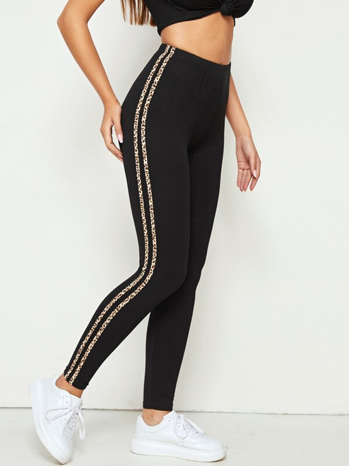Leopard Striped Tape Side Elastic Waist Leggings