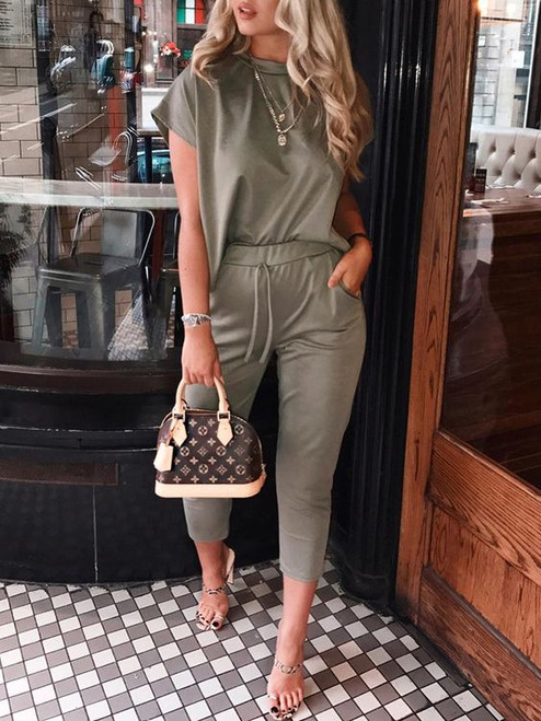 Bella Short Sleeve Crop Boxy Loungewear Coord Set - Khaki