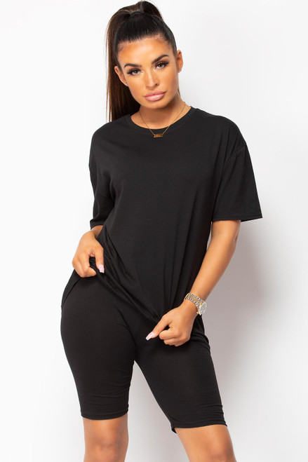 Oversized Tshirt and cycling shorts outfit 2 piece set coord - Black