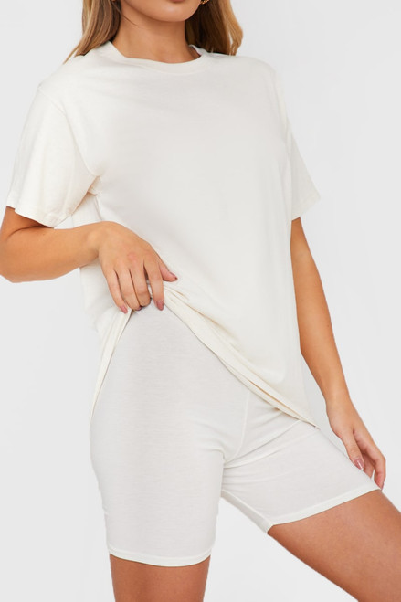 Oversized T shirt and cycling shorts outfit 2 piece set coord - White
