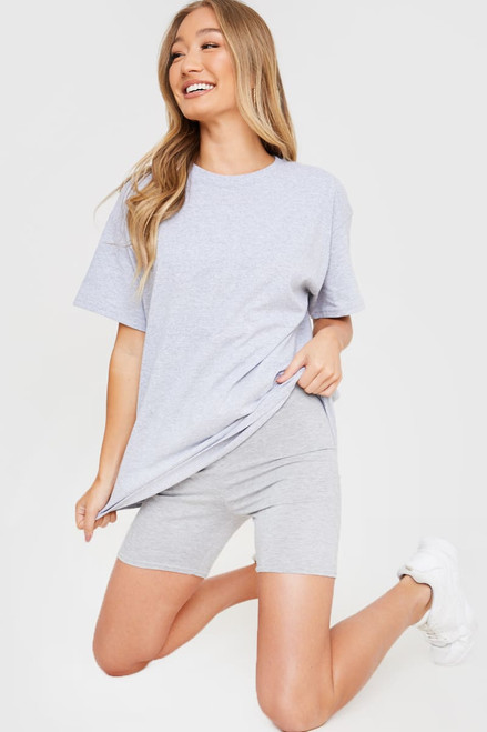 Oversized T shirt and cycling shorts outfit 2 piece set coord - Grey