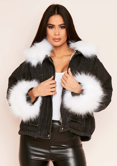 BACK IN! Alyssa Faux Fur Oversized Denim Jacket (Black-White)