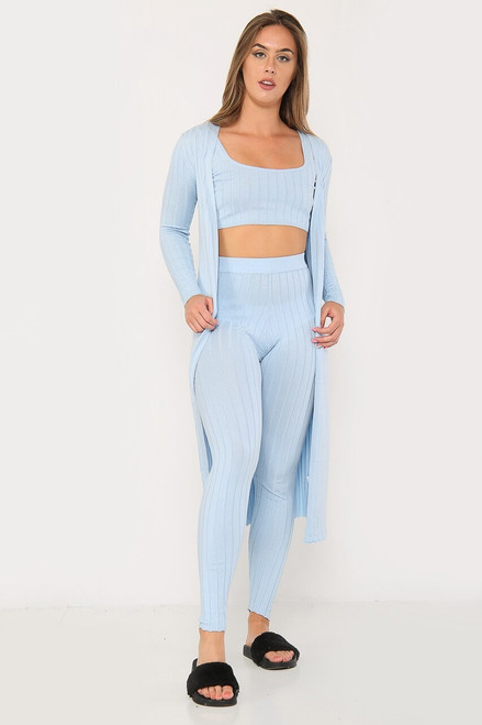 3 Piece outfit Rib Knitted Loungewear Set Tank Crop Maxi Cardigan coord - Blue