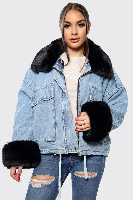 NEW! Alyssa White Faux Fur Oversized Denim Jacket