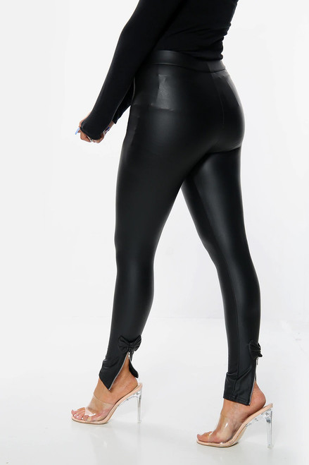 Black Skinny Fit Matte PVC Zip Bow Back detail Leggings