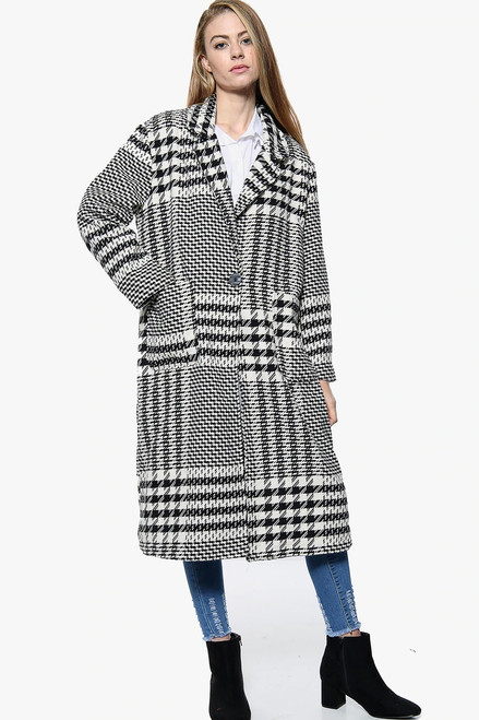 Oversized Monochrome houndstooth Coat