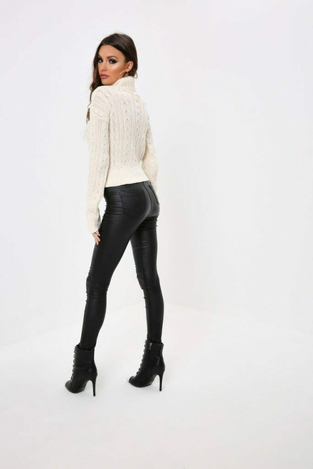 Polo Neck Cable Knit Long Sleeve Cropped Top Jumper