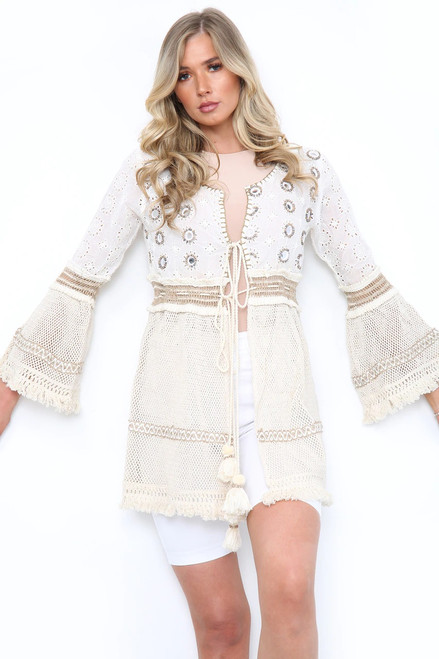 boho crochet Bell Sleeve Tunic Cardigan Beachwear Bikini cover up Top