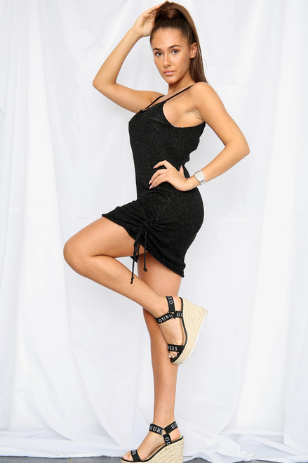 Metallic Knitted Side Ruched Bodycon Mini Party Dress