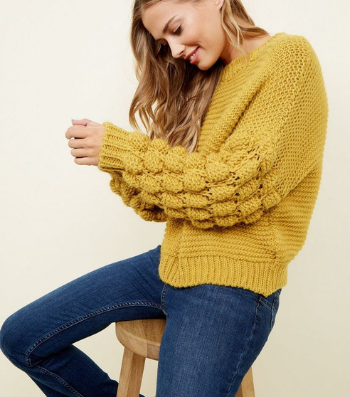 Erika Bubble Sleeved Knitted Jumper - Mustard