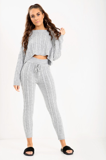 Back In! Simone 2 Piece Knitted Coord - Grey
